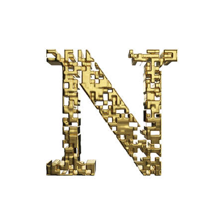 Alphabet letter N uppercase. Golden font made of yellow metallic shapes. 3D render isolated on white background. Typographic symbol from gold geometric figure. Stock Photo