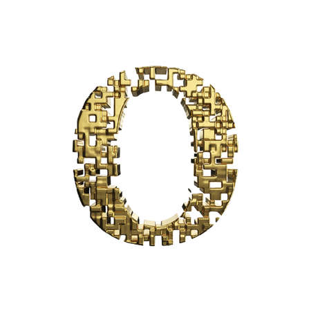 Alphabet letter O uppercase. Golden font made of yellow metallic shapes. 3D render isolated on white background. Typographic symbol from gold geometric figure.