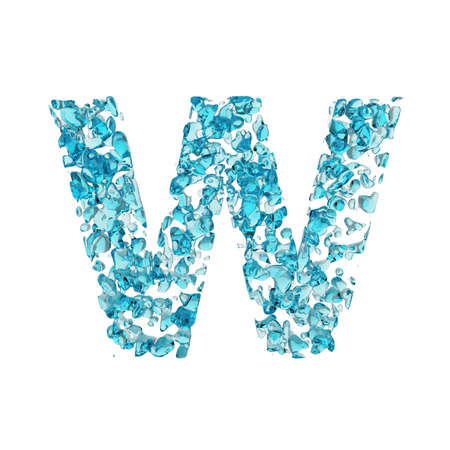 Alphabet letter W uppercase. Liquid font made of blue water drops. 3D render isolated on white background. Typographic symbol from fresh aqua. Banque d'images