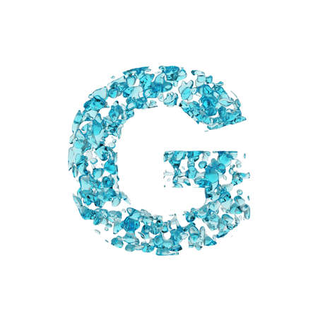 Alphabet letter G uppercase. Liquid font made of blue water drops. 3D render isolated on white background. Typographic symbol from fresh aqua.