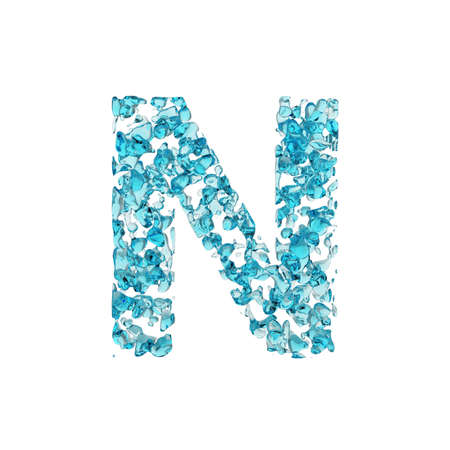 Alphabet letter N uppercase. Liquid font made of blue water drops. 3D render isolated on white background. Typographic symbol from fresh aqua.