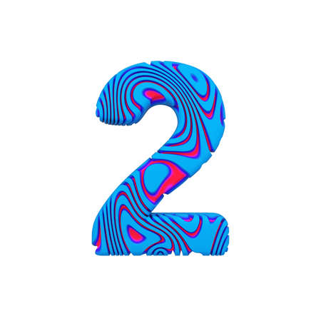Alphabet number 2. Sporty font made of blue bold sign. 3D render isolated on white background. Typographic symbol from powerful figure.