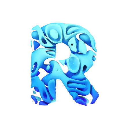 Alphabet letter R uppercase. Blue font made of ink splash in water. 3D render isolated on white background. Typographic symbol from liquid paint.