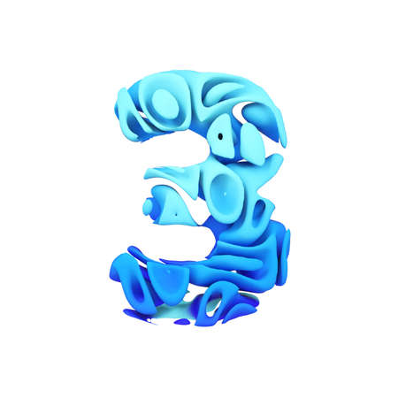Alphabet number 3. Blue font made of ink splash in water. 3D render isolated on white background. Typographic symbol from liquid paint.