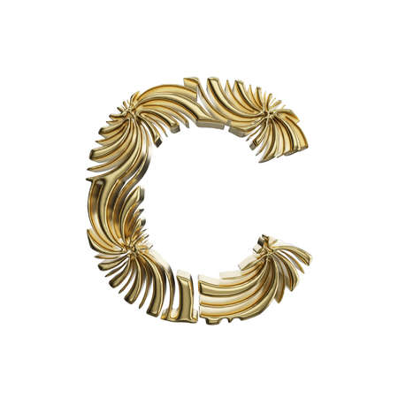 Alphabet letter C uppercase. Golden font made of shiny yellow metal. 3D render isolated on white background. Typographic symbol from elegant royal gold.