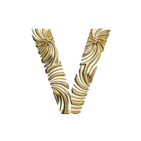 Alphabet letter V uppercase. Golden font made of shiny yellow metal. 3D render isolated on white background. Typographic symbol from elegant royal gold.