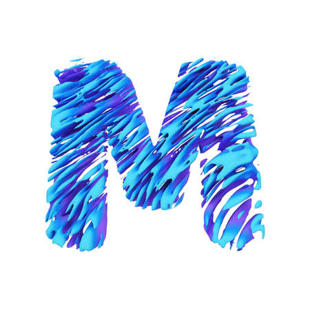 Alphabet letter M uppercase. Grungy font made of brushstrokes. 3D render isolated on white background. Typographic symbol from liquid vivid acrylic paint.