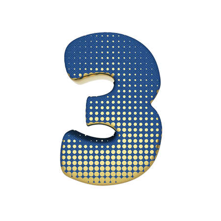 Alphabet number 3. Gold halftone font made of blue jean texture. 3D render isolated on white background. Typographic symbol from spotted fabric.