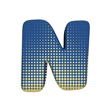 Alphabet letter N uppercase. Gold halftone font made of blue jean texture. 3D render isolated on white background. Typographic symbol from spotted fabric.