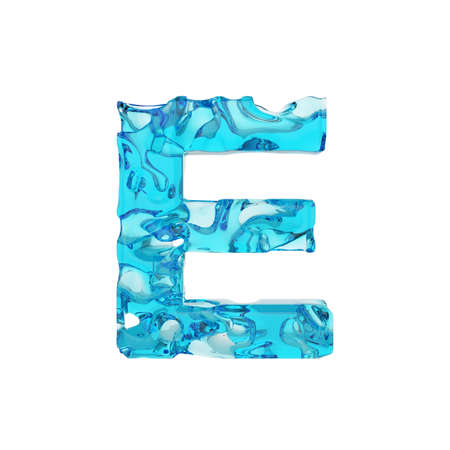 Alphabet letter E uppercase. Liquid font made of fresh blue water. 3D render isolated on white background. Typographic symbol from summer sea waves. Banque d'images