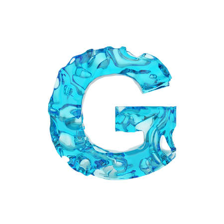 Alphabet letter G uppercase. Liquid font made of fresh blue water. 3D render isolated on white background. Typographic symbol from summer sea waves. Stock fotó