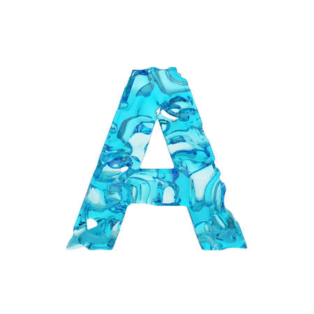 Alphabet letter A uppercase. Liquid font made of fresh blue water. 3D render isolated on white background. Typographic symbol from summer sea waves. Stockfoto
