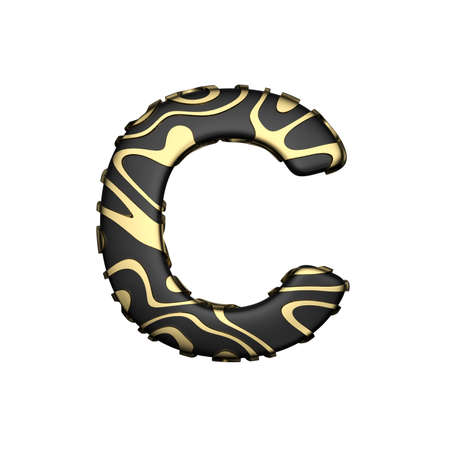 Alphabet letter C uppercase. Black carbonic font with yellow golden stains. 3D render isolated on white background. Luxurious elegant typographic symbol. Stock Photo