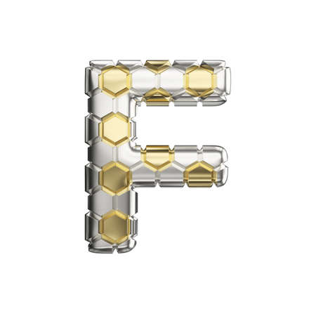 Alphabet letter F uppercase. Soccer font made of silver and gold football texture. 3D render isolated on white background. Typographic symbol from reflective metallic hexagons.