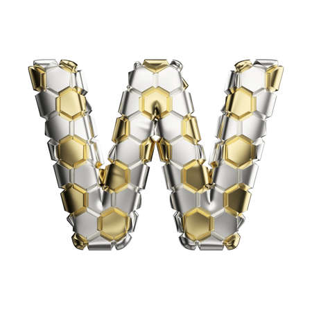 Alphabet letter W uppercase. Soccer font made of silver and gold football texture. 3D render isolated on white background. Typographic symbol from reflective metallic hexagons.