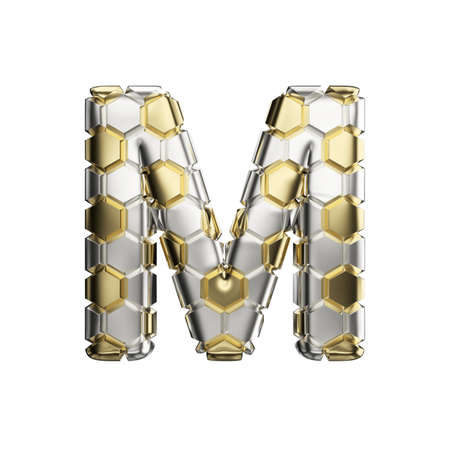 Alphabet letter M uppercase. Soccer font made of silver and gold football texture. 3D render isolated on white background. Typographic symbol from reflective metallic hexagons.