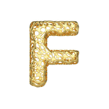 Alphabet letter F uppercase. Gold font made of yellow cellular framework. 3D render isolated on white background. Typographic symbol from metallic meshy carcass.