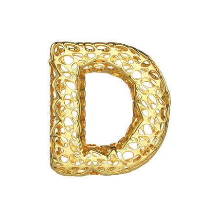 Alphabet letter D uppercase. Gold font made of yellow cellular framework. 3D render isolated on white background. Typographic symbol from metallic meshy carcass.
