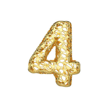 Alphabet number 4. Gold font made of yellow cellular framework. 3D render isolated on white background. Typographic symbol from metallic meshy carcass. Stock Photo