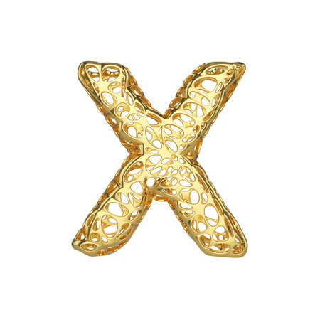 Alphabet letter X uppercase. Gold font made of yellow cellular framework. 3D render isolated on white background. Typographic symbol from metallic meshy carcass. Stock Photo