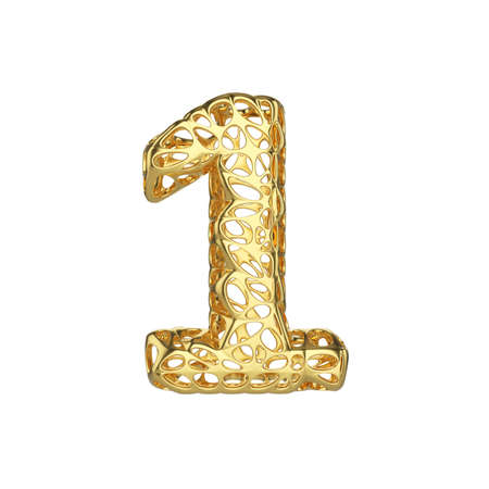 Alphabet number 1. Gold font made of yellow cellular framework. 3D render isolated on white background. Typographic symbol from metallic meshy carcass. Stock Photo