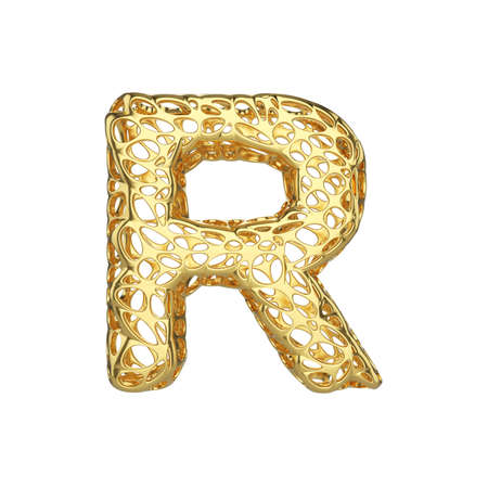 Alphabet letter R uppercase. Gold font made of yellow cellular framework. 3D render isolated on white background. Typographic symbol from metallic meshy carcass.