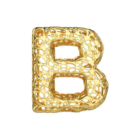 Alphabet letter B uppercase. Gold font made of yellow cellular framework. 3D render isolated on white background. Typographic symbol from metallic meshy carcass.