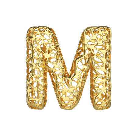 Alphabet letter M uppercase. Gold font made of yellow cellular framework. 3D render isolated on white background. Typographic symbol from metallic meshy carcass. Stock Photo