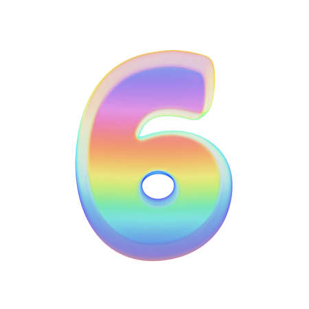 Alphabet number 6. Rainbow font made of bright soap bubble. 3D render isolated on white background. Typographic symbol from iridescent holographic foil.