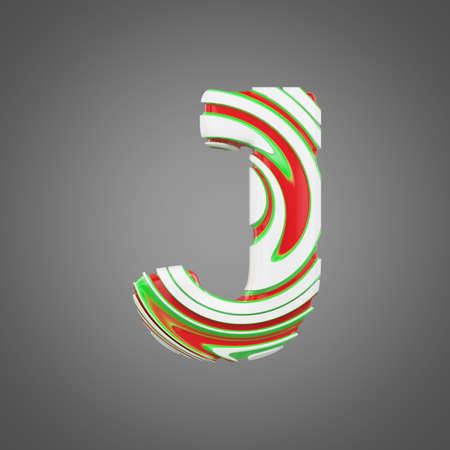 Holiday alphabet letter J uppercase. Christmas font made of peppermint candy canes. 3D render. Xmas typographic symbol from red, green and white lollipops.