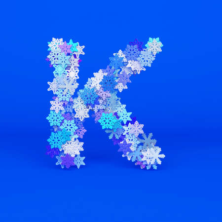 Winter alphabet letter K uppercase. Christmas font made of snowflakes. 3D render. Xmas typographic symbol from stylized festive flakes.