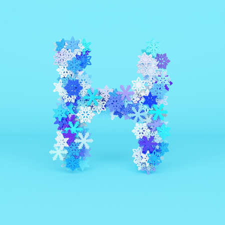 Winter alphabet letter H uppercase. Christmas font made of snowflakes. 3D render. Xmas typographic symbol from stylized festive flakes.