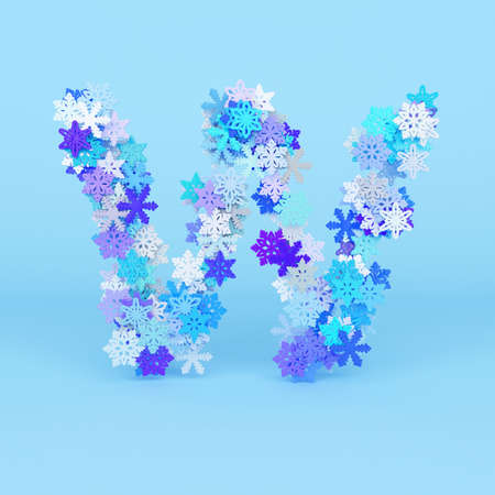 Winter alphabet letter W uppercase. Christmas font made of snowflakes. 3D render. Xmas typographic symbol from stylized festive flakes.