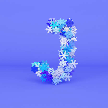 Winter alphabet letter J uppercase. Christmas font made of snowflakes. 3D render. Xmas typographic symbol from stylized festive flakes. Stock fotó