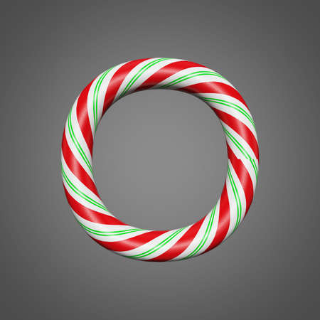 Festive alphabet letter O uppercase. Christmas font made of mint striped candy canes. 3D render on gray background. Xmas typographic symbol from peppermint lollipops. Stockfoto