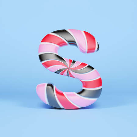 Alphabet letter S uppercase. Christmas font made of pink, red and black striped lollipop. 3D render on blue background. Tasty confection from delicious lollypop caramel.