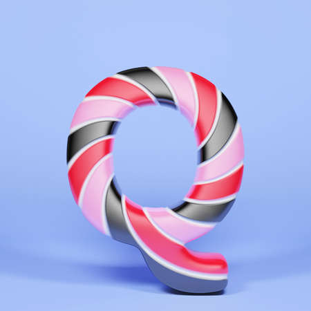 Alphabet letter Q uppercase. Christmas font made of pink, red and black striped lollipop. 3D render on blue background. Tasty confection from delicious lollypop caramel.