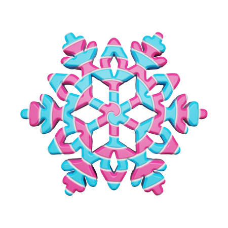 Festive snowflake in pink and blue colors isolated on white background. Lollipop made of striped twisted caramel. 3d render. Sweet candy style of winter snow flake. Banque d'images