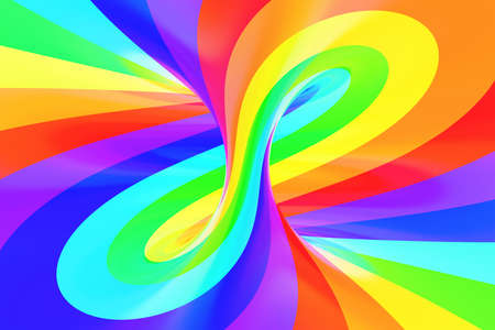 Rainbow funny spiral tunnel. Striped twisted cheerful optical illusion. Abstract background. 3D render. Spectrum iridescent wallpaper. Stock Photo