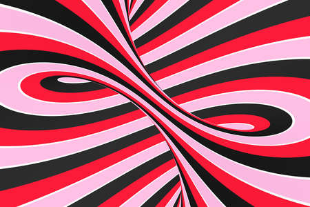 Festive pink, red and black spiral tunnel. Striped twisted lollipop optical illusion. Abstract background. 3D render. Sweet candy caramel wallpaper. 写真素材