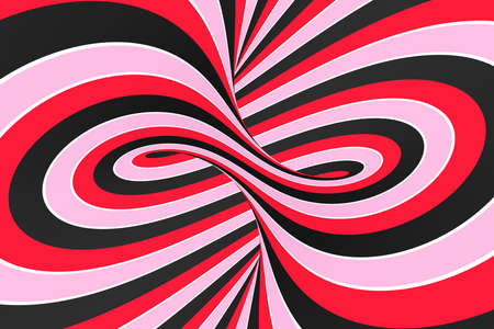 Festive pink, red and black spiral tunnel. Striped twisted lollipop optical illusion. Abstract background. 3D render. Sweet candy caramel wallpaper. Stock Photo