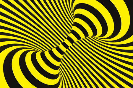 Black and yellow police spiral tunnel. Striped twisted hypnotic optical illusion. Warning safety background. 3D render. Rotating infinite wallpaper.