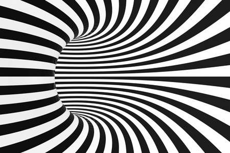 Black and white spiral tunnel. Striped twisted hypnotic optical illusion. Abstract background. 3D render. Fantastic infinite wallpaper.