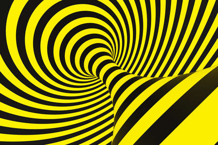 Black and yellow police spiral tunnel. Striped twisted hypnotic optical illusion. Warning safety background. 3D render. Rotating infinite wallpaper. Stock Photo - 106877846