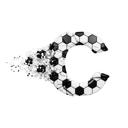 Broken shattered alphabet letter C. Crushed soccer font made of football texture. 3D render isolated on white background. Typographic symbol from cracked debris. Archivio Fotografico
