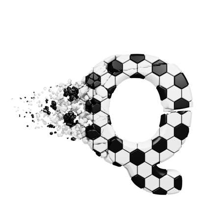 Broken shattered alphabet letter Q. Crushed soccer font made of football texture. 3D render isolated on white background. Typographic symbol from cracked debris. Stock Photo