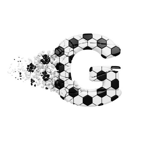 Broken shattered alphabet letter G. Crushed soccer font made of football texture. 3D render isolated on white background. Typographic symbol from cracked debris.