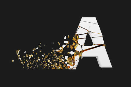 Broken shattered alphabet letter A uppercase. Crushed white and gold font. 3D render isolated on grey background. Typographic symbol from cracked debris. Stock fotó