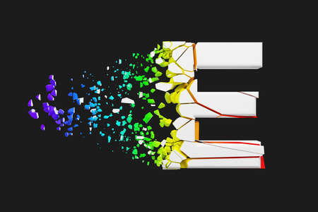 Broken shattered iridescent alphabet letter E uppercase. Crushed white and rainbow font. 3D render isolated on gray background. Typographic symbol from spectrum cracked debris. 스톡 콘텐츠