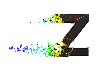 Broken shattered iridescent alphabet letter Z uppercase. Crushed black and rainbow font. 3D render isolated on white background. Typographic symbol from spectrum cracked debris.